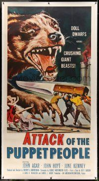 9g015 ATTACK OF THE PUPPET PEOPLE linen 3sh '58 art of tiny people with knife attacking giant dog!