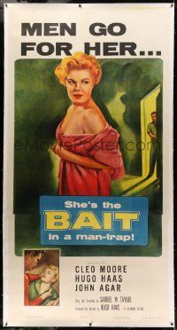 9g017 BAIT linen 3sh '54 men go for sexy bad girl Cleo Moore, she's the Bait in a man-trap, rare!