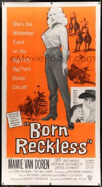 9g018 BORN RECKLESS linen 3sh '59 great full-length image of sexy rodeo cowgirl Mamie Van Doren!
