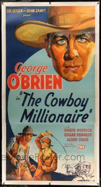 9g021 COWBOY MILLIONAIRE linen 3sh '35 dude ranch owner George O'Brien loves English Evalyn Bostock!