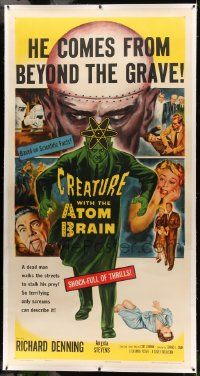 9g022 CREATURE WITH THE ATOM BRAIN linen 3sh '55 Curt Siodmak, art of dead man stalking his prey!
