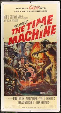 9g039 TIME MACHINE linen 3sh '60 H.G. Wells, George Pal, great Reynold Brown sci-fi artwork!