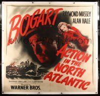 9g008 ACTION IN THE NORTH ATLANTIC linen 6sh '43 c/u of Humphrey Bogart, sexy Julie Bishop, rare!