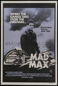 9g267 MAD MAX purple 1st printing Aust 1sh '79 Mel Gibson, George Miller classic, incredibly rare!