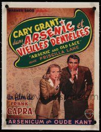 9g079 ARSENIC & OLD LACE linen Belgian '50s Cary Grant, Priscilla Lane, Frank Capra, different!