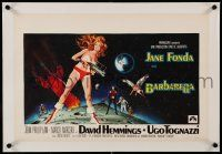9g080 BARBARELLA linen Belgian '68 sexiest sci-fi art of Jane Fonda by Robert McGinnis, Roger Vadim