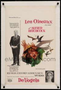9g081 BIRDS linen Belgian '63 Alfred Hitchcock shown, Tippi Hedren, classic intense attack artwork!