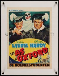 9g082 CHUMP AT OXFORD linen Belgian R50s different Hurel art of Laurel & Hardy with ghost behind!