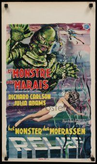 9g321 CREATURE FROM THE BLACK LAGOON 3D Belgian '54 great artwork image of monster & scuba divers!