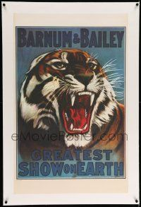 9g179 BARNUM & BAILEY GREATEST SHOW ON EARTH linen REPRO 24x37 circus poster '70s tiger art!