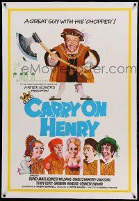 9g103 CARRY ON HENRY VIII linen English 1sh '71 wacky historic comedy, art by Pulford & Fratini!