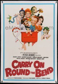 9g104 CARRY ON ROUND THE BEND linen English 1sh '71 Sidney James, wacky Renato Fratini art of cast!