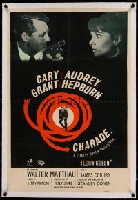 9g110 CHARADE linen English double crown '63 Cary Grant w/ gun & Audrey Hepburn, ultra-rare!