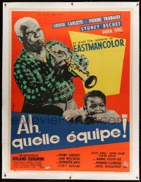 9g141 AH QUELLE EQUIPE linen 2nd printing French 1p '58 great image of jazz man playing soprano sax!