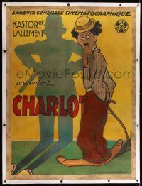 9g142 CHARLOT linen French 1p 1910s cool Harford art of Charlie Chaplin as the Tramp & cop's shadow!