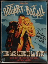 9g143 DARK PASSAGE linen French 1p '48 Pierre Pigeot art of Humphrey Bogart & sexy Lauren Bacall!