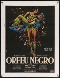 9g112 BLACK ORPHEUS linen French 23x31 R61 Marcel Camus' Orfeu Negro, best art by Georges Allard!