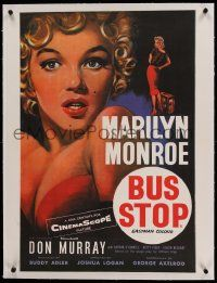 9g113 BUS STOP linen French 24x32 R80s best different Chantrell art of sexy Marilyn Monroe, rare!