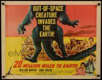9g218 20 MILLION MILES TO EARTH 1/2sh '57 out-of-space creature invades the Earth, monster art!