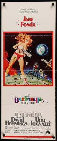 9g246 BARBARELLA insert '68 sexiest sci-fi art of Jane Fonda by Robert McGinnis, Roger Vadim!