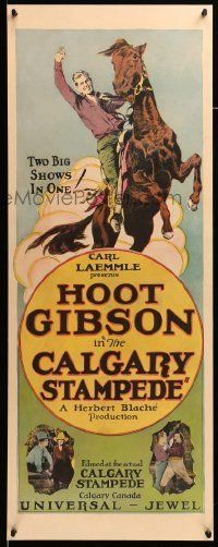 9g232 CALGARY STAMPEDE insert '25 art of Hoot Gibson competing at Canada's annual event, rare!