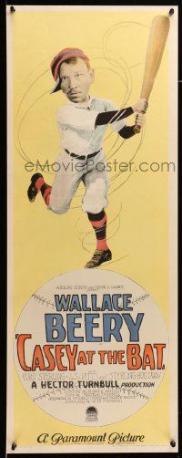 9g234 CASEY AT THE BAT insert '27 cool art of New York Giants baseball player Wallace Beery, rare!