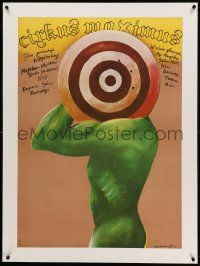 9g073 CIRCUS MAXIMUS linen Polish 27x38 '81 Nowinski art of naked man with target over his head!