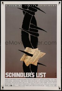 9g312 SCHINDLER'S LIST 1sh '93 Steven Spielberg, great different unused art by Saul Bass, rare!
