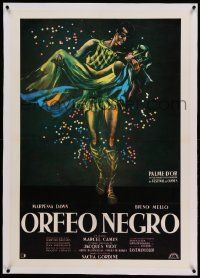 9g056 BLACK ORPHEUS linen South American R80s Marcel Camus' Orfeu Negro, best art by Georges Allard!