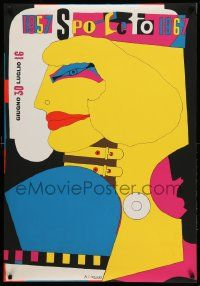 9g317 1957 SPOLETO 1967 28x40 Italian film festival poster '67 colorful Richard Lindner art!