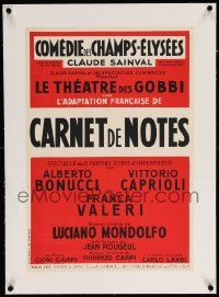 9g156 CARNET DE NOTES linen 16x23 French stage poster '54 the play written by Jean Rougeul!