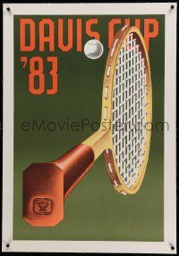9g195 DAVIS CUP linen 25x37 French commercial '83 Konrad Klapheck art of tennis racket & ball!