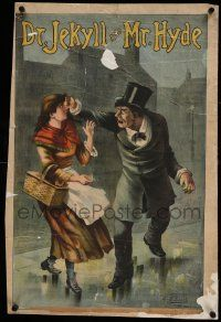9g154 DR. JEKYLL & MR. HYDE linen 20x29 stage poster c1887 stone litho of evil Hyde hitting girl!