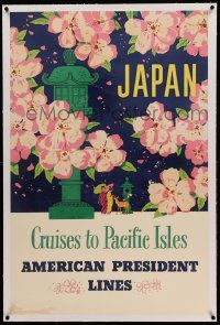 9g169 AMERICAN PRESIDENT LINES JAPAN linen 26x40 travel poster '50s Cruises to Pacific Isles!