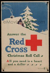 9g158 ANSWER THE RED CROSS linen 20x30 WWI war poster 1918 all you need is a heart and a dollar!