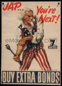 9g168 BUY EXTRA BONDS linen 20x28 WWII war poster '45 great James Montgomery Flagg Uncle Sam art!