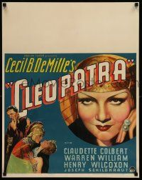 9g298 CLEOPATRA jumbo WC '34 sexy Claudette Colbert as the Princess of the Nile, Cecil B. DeMille