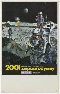 9g285 2001: A SPACE ODYSSEY Cinerama mini WC '68 Kubrick, art of astronauts on moon by Bob McCall!