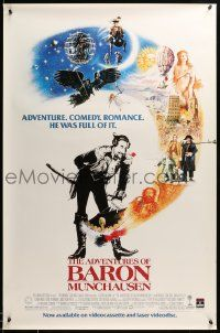 9k705 ADVENTURES OF BARON MUNCHAUSEN 27x41 video poster '88 directed by Terry Gilliam, Casaro art