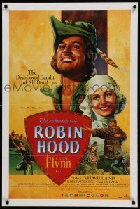 9k706 ADVENTURES OF ROBIN HOOD 24x36 video poster R91 Errol Flynn as Robin Hood, De Havilland!