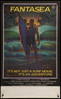 9k033 FANTASEA Aust special poster '79 cool Sharp artwork of surfer & ocean!
