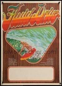 9k034 FLUID DRIVE Aust special poster '74 cool surfing artwork by Steve Core & Hugh McLeod!