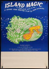 9k036 ISLAND MAGIC Aust special poster '72 L. John Hitchcock surfing documentary, different art!