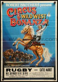 9k028 CIRCUS & WILD WEST BONANZA 18x25 English circus poster '80s Sutcliffe art of cowboy, more!