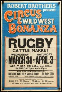 9k029 CIRCUS & WILD WEST BONANZA 20x30 English circus poster '80s cool all-text design!