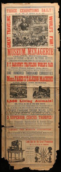 9k031 P.T. BARNUM'S TRAVELING WORLD'S FAIR 14x42 circus poster 1873 talking machine, 1,500 animals!