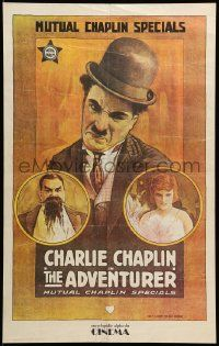 9k819 ADVENTURER 19x30 Spanish commercial poster '70s cool art of Charlie Chaplin, Edna Purviance!