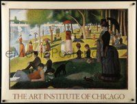 9k823 ART INSTITUTE OF CHICAGO 28x36 French commercial poster '80s A Sunday Afternoon by Seurat!