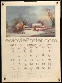 9k021 TRAVELERS 1960 CALENDAR 16x22 calendar pages '60 wonderful artwork by Currier & Ives!