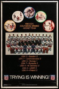 9k479 1980 USA GOLD MEDAL WINNING HOCKEY TEAM 23x35 special '80 historic team beating the USSR!